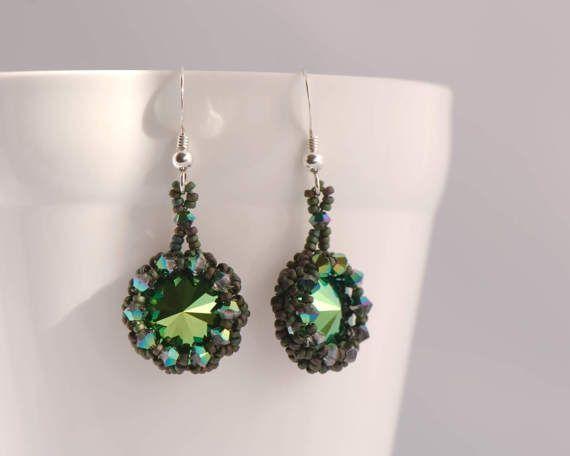 Dark Green Crystal Earrings Swarovski Scarabaeus by Turquoisebee