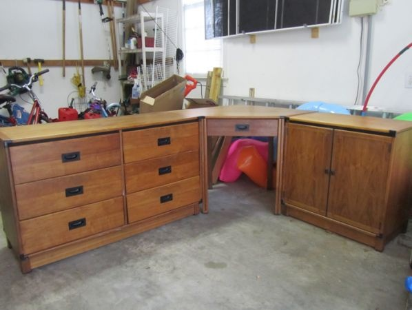 Circa 1966 Modular Desk Dresser And Cabinet Combo By Drexel Ious L Shaped 3