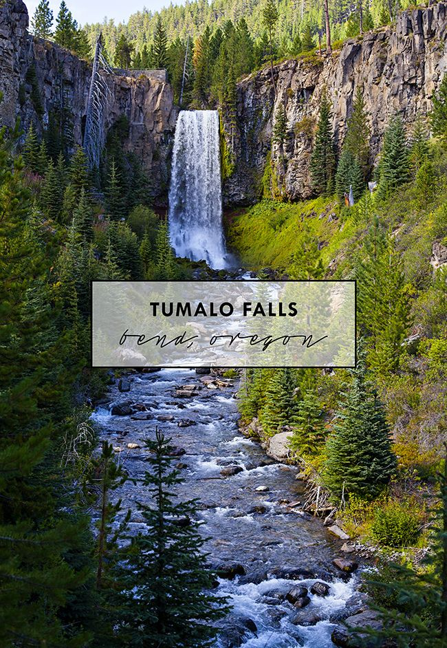 Tumalo Falls, located in Bend, Oregon, are 97-feet tall falls in the Deschutes Forest.