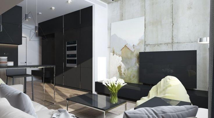 meuble de télé noir laqué, table basse assortie et parement mural imitation béton gris