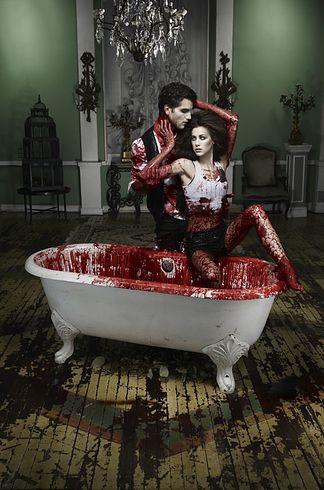 """Cycle 14: when Tyra watched too much True Blood and then made the models pose as vampires in a blood-filled bathtub. 