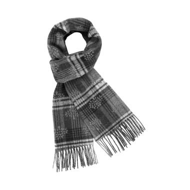 Jacquard Logo Scarf in Black Cashmere & Merino | Accessories | Mulberry