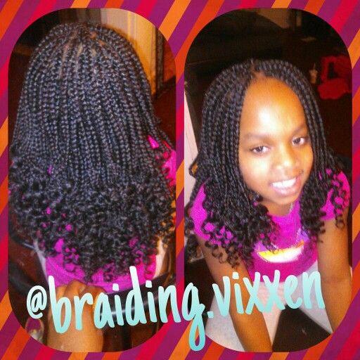 black kids hair braiding styles box braids w curly ends my work kid 3927 | 851a386fa62a3860306aacb20cab8194