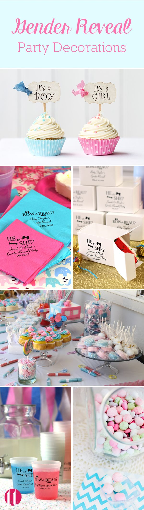 Make sure your gender reveal party is on point with decorations that are as creative as the reveal itself. See more party ideas at https://www.tippytoad.com/baby-shower.asp. Cups that change color when they get cold, personalized boxes for packaging the reveal cake, napkins, baby shower favors, souvenirs and much more.