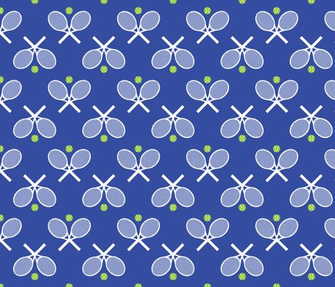 Tennis Racquets Blue fabric by freshlypieced on Spoonflower - custom fabric