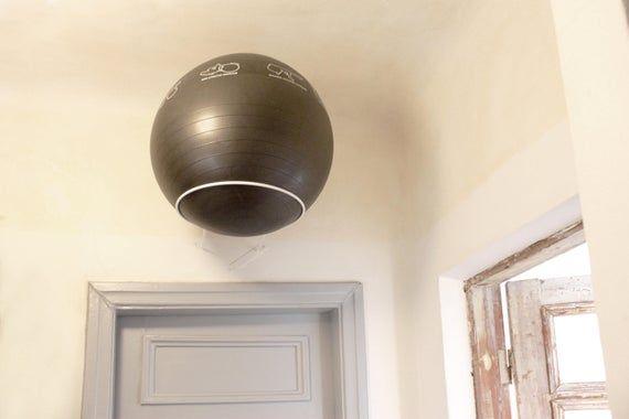 Exercise Ball Display Wall Mount Metal Ring For Yoga Ball Etsy In 2020 Ball Exercises Yoga Ball Wall Display