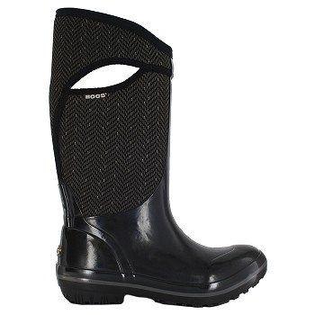 Bogs Women's Plimsoll Herringbone Tall Waterproof Winter Boots (Black/Grey)