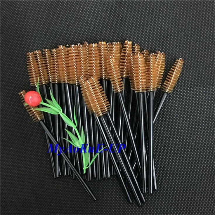 Wholesale 500 pcs/lot Black Handle Brown Disposable Glad Lash Cosmetic Eyelash Extension Eyelash Brush Mascara Applicator Wand
