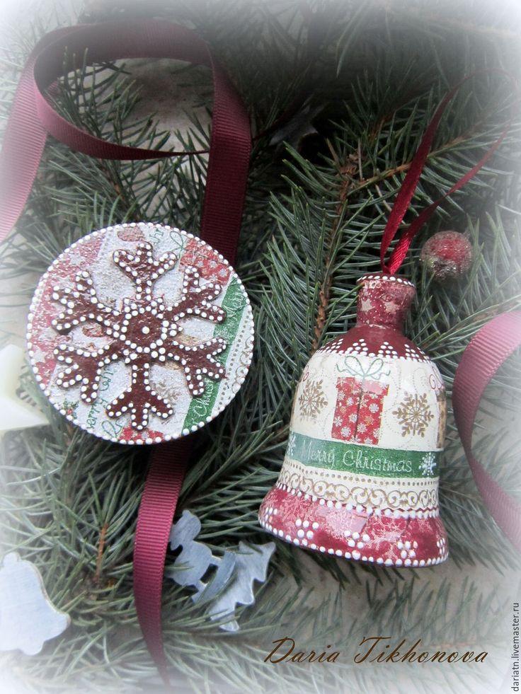Купить Набор шкатулка и колокольчик - шкатулка декупаж, шкатулка новогодняя, колокольчик ручной работы, колокольчик
