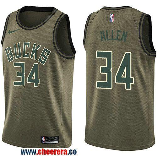 Men's Nike Milwaukee Bucks #34 Ray Allen Green Salute to Service NBA Swingman Jersey