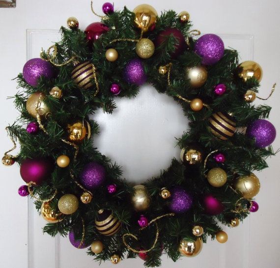 24 Purple and Gold Christmas Wreath by NOELSbyNATALIE on Etsy, $25.00