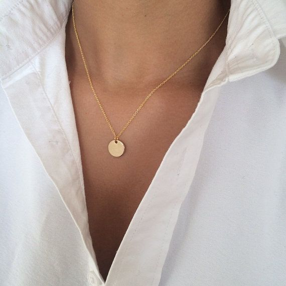 Delicate Gold Necklace  Small Circle Charm by SixEightyEight