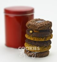 Tinette — 6 gourmet cookies gift wrapped in a shiny red tin with cellophane, ribbon, and a gift tag.