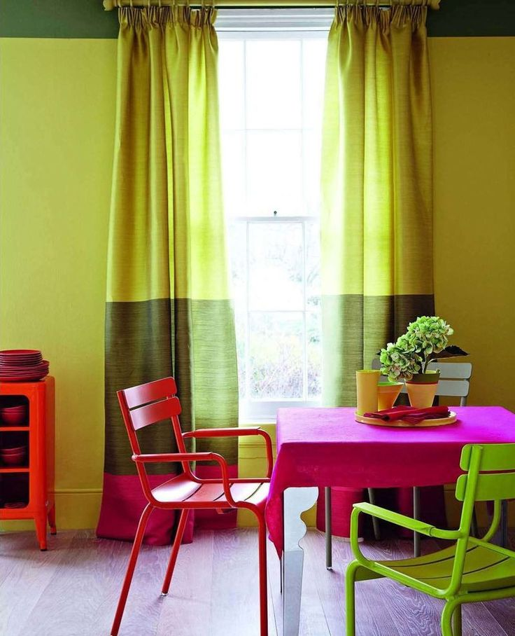 These Green And Chartreuse Curtains Remind Me Of A Prada Collection From A  Few Years Back