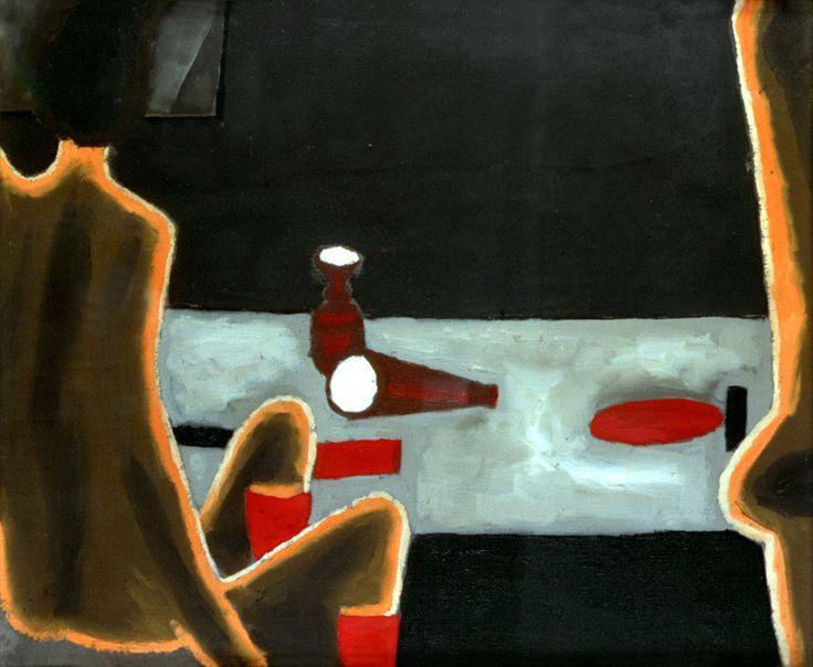 Jerzy Nowosielski | Akt przy stole, 1974 | oil on canvas