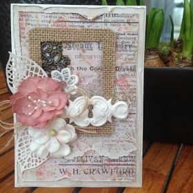Card with Foamiran Flower. A homemade Foamiran Flower among flowers and leaves from Prima. Keyhole embellishment is made with I...