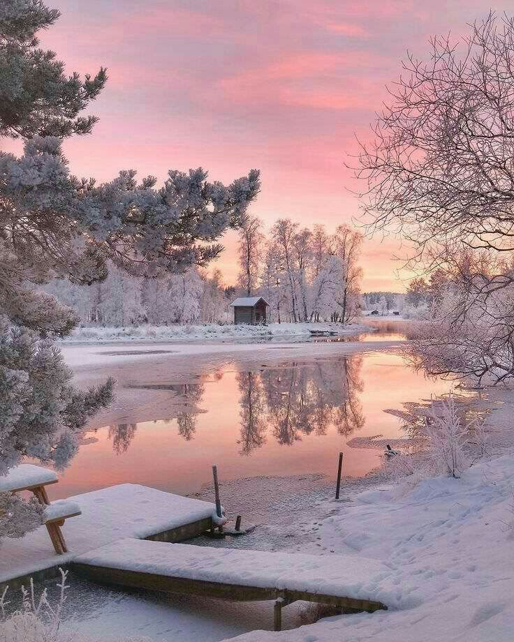 Pink sky and snow
