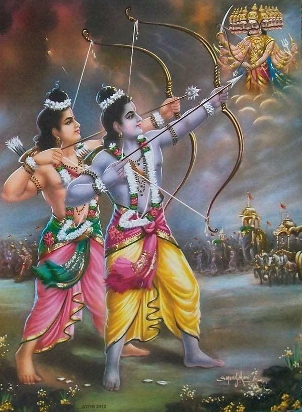 Ram and his brother Laxman fighting with ravan the 10 heads demon.