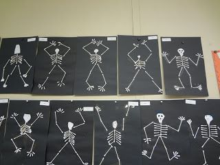 Ms. Feuerstack's First Grade Class-  Q-Tip Skeletons