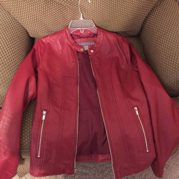 Faux Red Leather Jacket Kenneth Cole Reaction red leather fitted zip up jacket. Super warm and functional. Looks super sleek and sexy Kenneth Cole Reaction Jackets & Coats