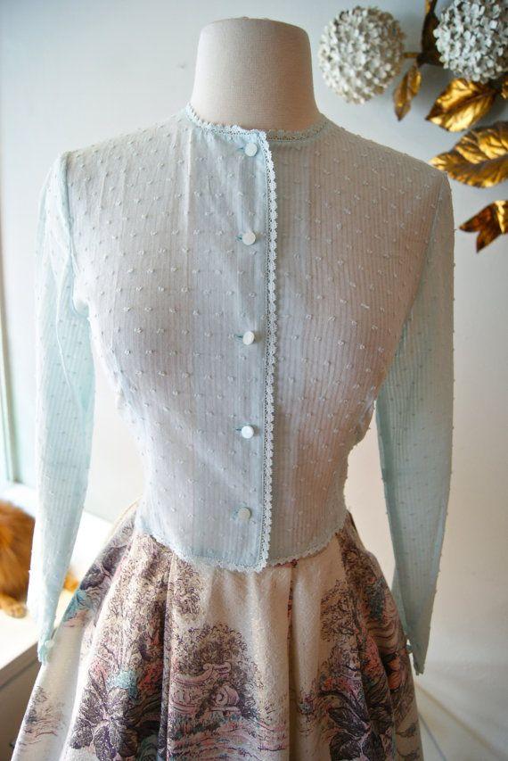 Vintage Style Swiss Dot Cotton Blouse Xtabay por xtabayvintage