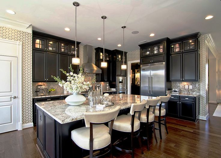 Transitional Kitchen with Kitchen island, Wallpaper, Jessica Charles Fine upholstered barstool, Breckenridge Cabinetry, Flush