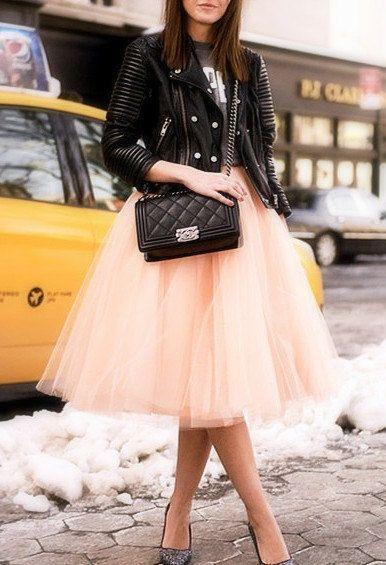 Light Peach Tulle Tutu Skirt, Adult, Women - Light Peach Tulle Tutu Skirt Adult Women by LudasBoxOfTreasures