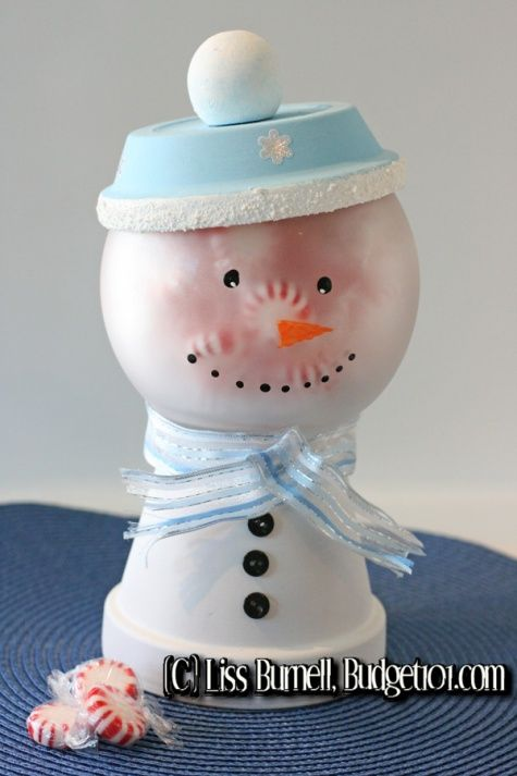 DIY Snowman Candy Jar: Jars Crafts, Diy Snowman, Flowers Pots, Snowman Jars, Candy Dishes, Snowman Candy, Clay Pots, Candy Jars, Frosty The Snowmen