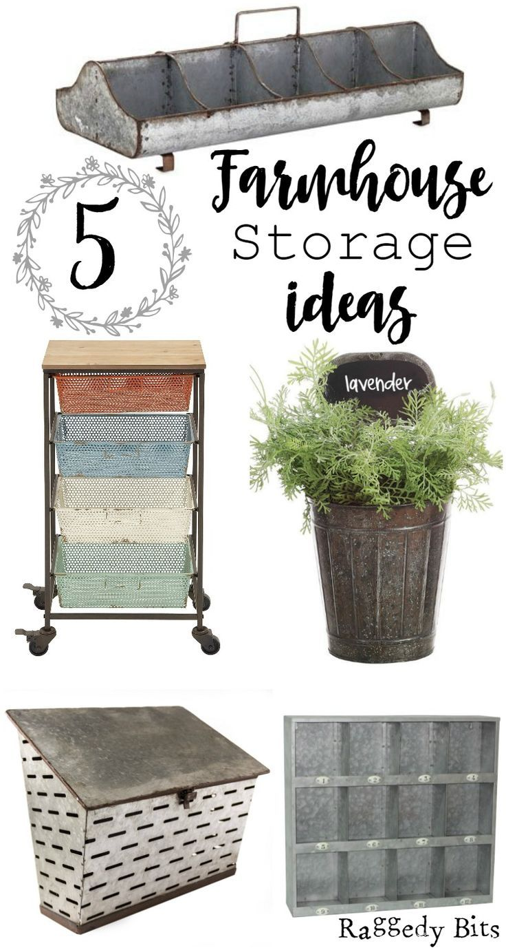A collection of 5 Farmhouse Storage Ideas that are affordable and easy on the eye | http://www.raggedy-bits.com