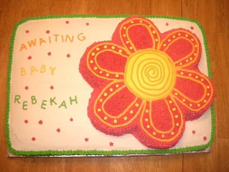 Sheet Cake Decorated With Flowers : hot pink flower on sheet cake Cake decorating Pinterest