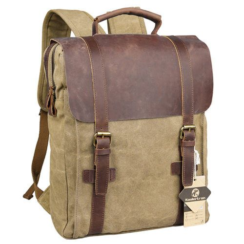 Vintage Style Canvas Cowhide Leather High Quality Casual Laptop Backpack Rucksack Laptop Carry Case 4 Colors