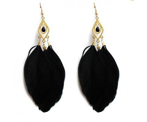 Pierkové náušnice trojité čierne, feather earrings black #womanology #jewelry #accessories #featherearrings