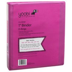 In a Bind? Not any more. Yoobi's one-inch binders hold up to 275 sheets with easy-to-open D-rings that allow pages to lay flat.