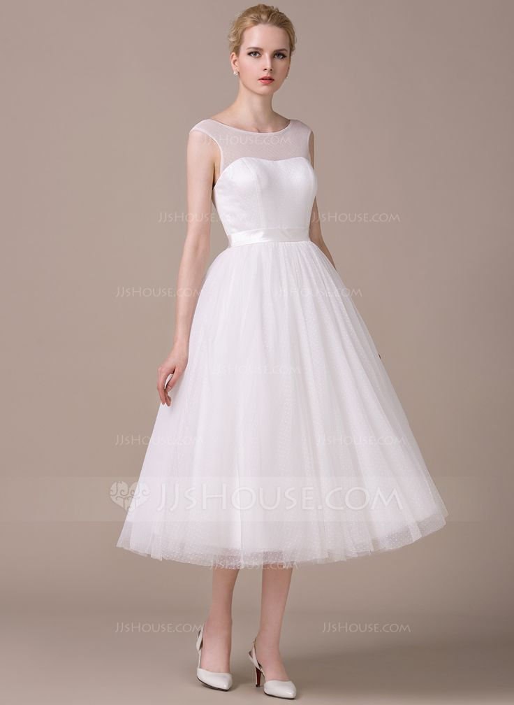A-Line/Princess Scoop Neck Tea-Length Zipper Up Covered Button Cap Straps Sleeveless Hall Reception General Plus No Spring Summer Fall Ivory Tulle Wedding Dress