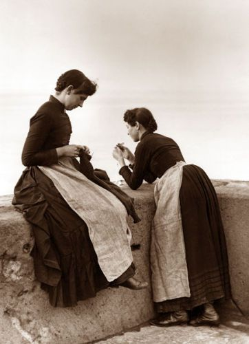 Francis Meadow (Frank) Sutcliffe (6 October 1853 – 31 May 1941): Two girls knitting, 1870
