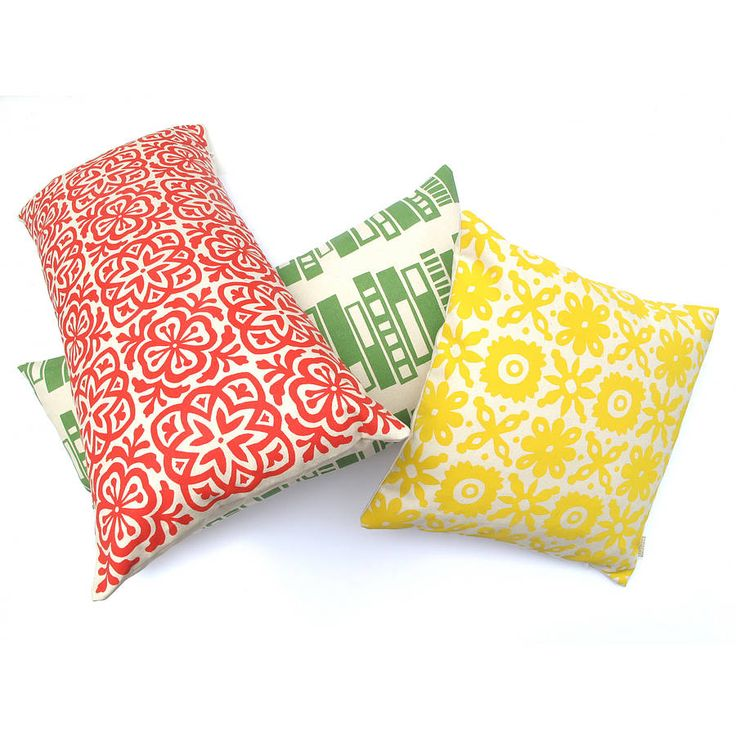 Moroccan Tile rectangular cushion shown here in red, other cushions are for colour reference only