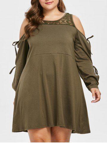 Plus Size Long Sleeve Lace Trapeze Dress | Plus Size Clothing ...