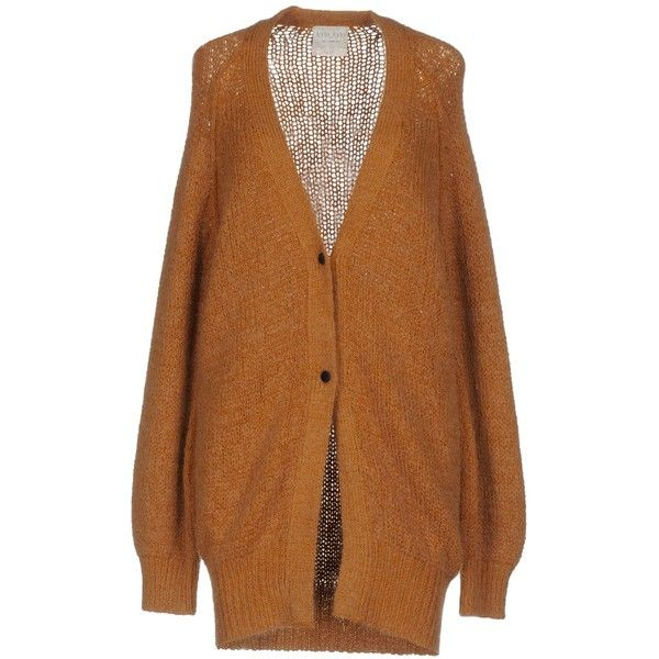 Forte-forte Cardigan ($240) ❤ liked on Polyvore featuring tops, cardigans, camel, cardigan top, wool cardigan, camel cardigan, v-neck tops and camel top