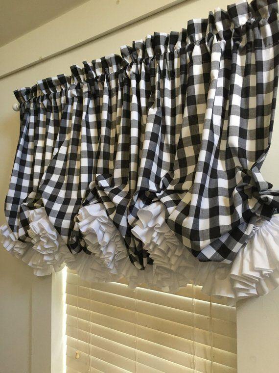 Black And White Check Balloon Curtain Valance With White Double Ruffles Blackwhite Balloon