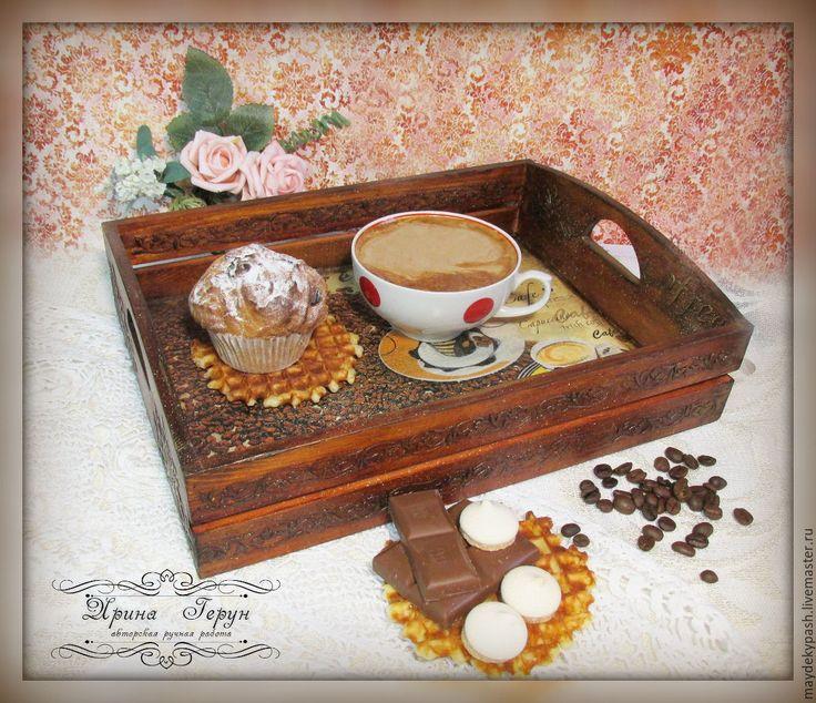 """Купить Короб - поднос для кухни  """"Coffee chocolate"""" - коричневый, короб для кухни, поднос для кухни"""