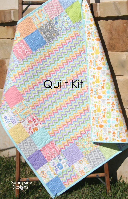 Traditional Baby Quilt Kit, Bump to Baby, Gina Martin, Moda Fabrics, Chevron Green Pink Pruple, Baby Items, Modern Girl, DIY Do it Yourself by SunnysideFabrics on Etsy https://www.etsy.com/listing/225146696/traditional-baby-quilt-kit-bump-to-baby