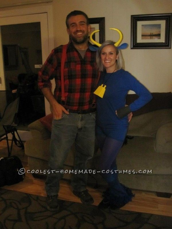 Coolest Paul Bunyan and Babe the Blue Ox Halloween Couple Costume ... This website is the Pinterest of costumes