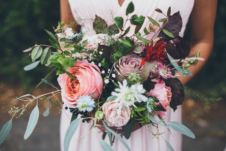Pink Oversized Bridal Bouquet | DIY Marquee Wedding on the Brides Family Farm | Homemade Bridal Gown | Valentino RockStud Bridal Shoes | Groom in Tweed Suit | Matthew Horan Photography | http://www.rockmywedding.co.uk/kayleigh-ben/