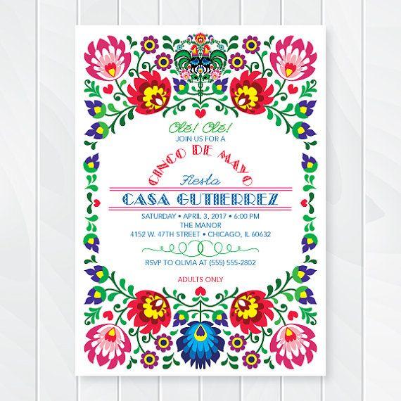 Cinco De Mayo Invitations Mexican Fiesta Invites by ThenComesPaper                                                                                                                                                      More