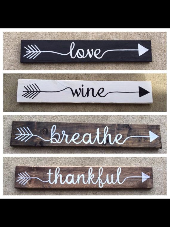 These hand painted arrow signs are the perfect pop of fun for an entry table, mantle, or wall art (one hanger included). Great alone or mixed