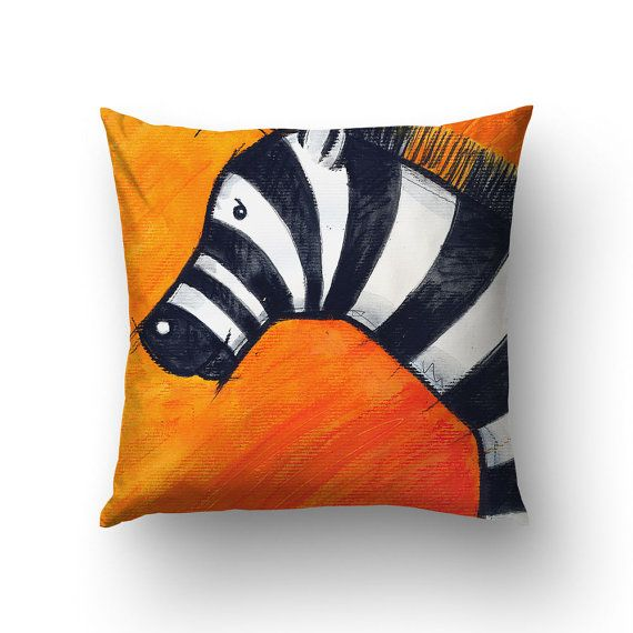 Zebra Illustration Throw Pillow Zebra Pillow Kids by Macrografiks