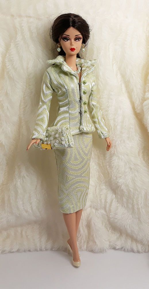 a3f21d8668b9 Ooak Handmade Line Light Suit Outfit Dress Bag Jewelry For Barbie Silkstone  Doll