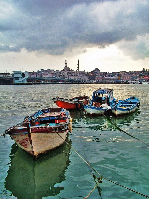 Boats on Golden Horn - Istanbul Turkey
