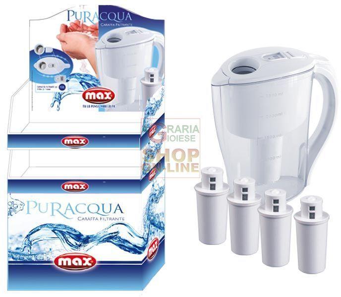 MAX PALLBOX CARAFFA PURACQUA+4 FILTRI 24 PZ https://www.chiaradecaria.it/it/max/11797-max-pallbox-caraffa-puracqua-4-filtri-24-pz-8017365026356.html