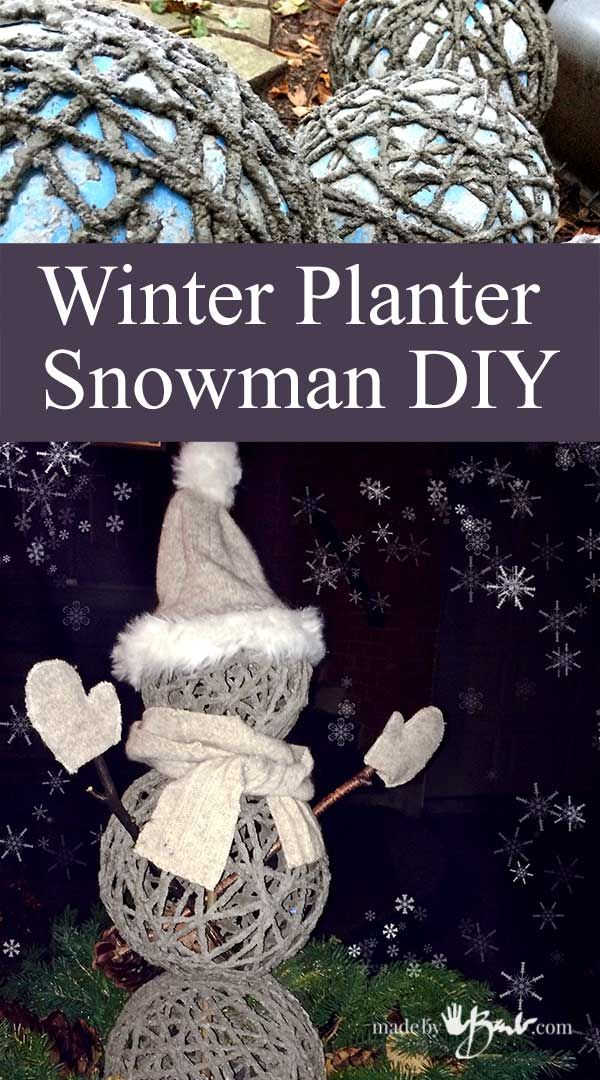 Stack your DIY concrete garden orbs around a stake secured into the ground for a Snowman